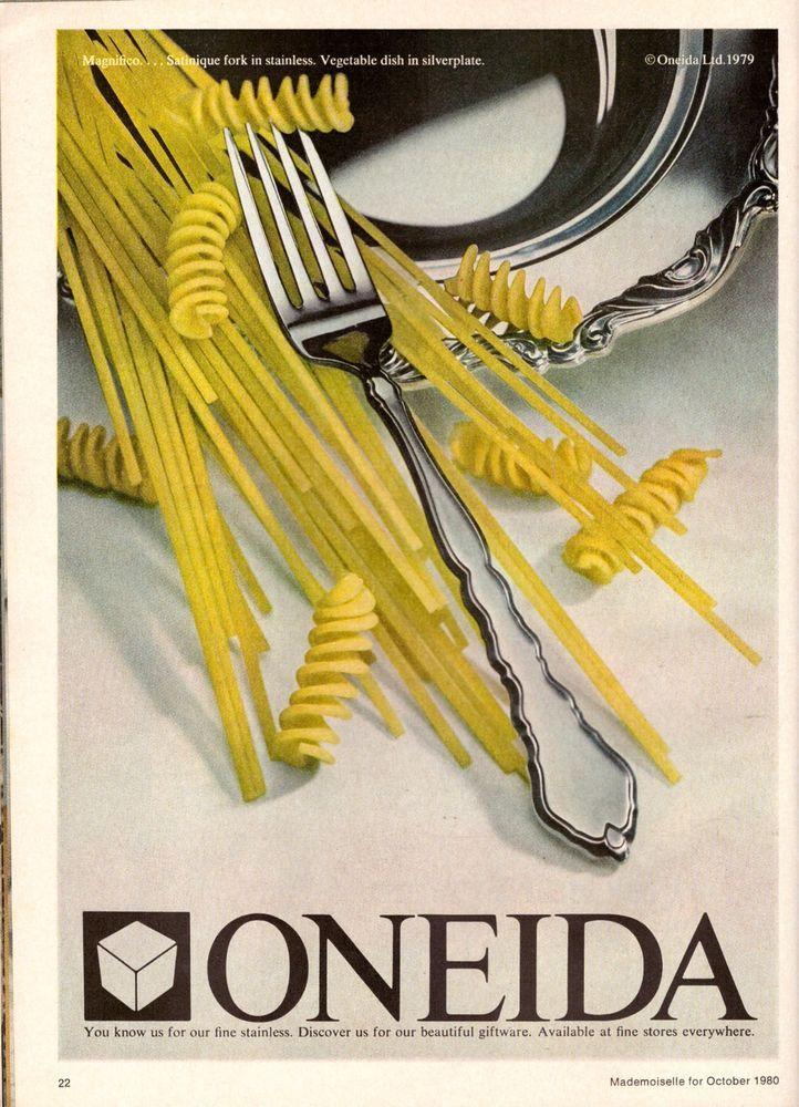 1980 Oneida Silverware Pasta Print Advertisement Vintage VTG 80s   eBay