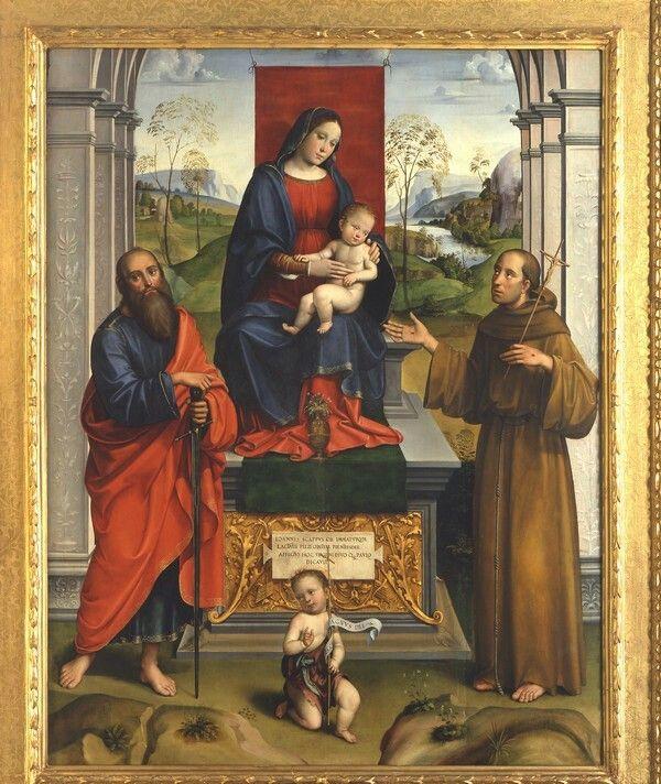 1495. Pala Scappi. Madonna con il Bambino e santi Paolo Francesco Giovannino. Pinacoteca Nazionale di Bologna
