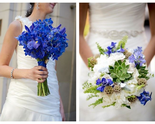 I like the bouquet on the right. On the left are delphiniums, which I really like, but I wouldn't want ONLY delphiniums. Want white in there too.