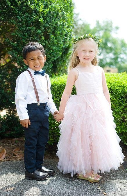 Flower girl. Ring bearer. Blush ruffles. Navy wedding. Suspenders and bow tie.