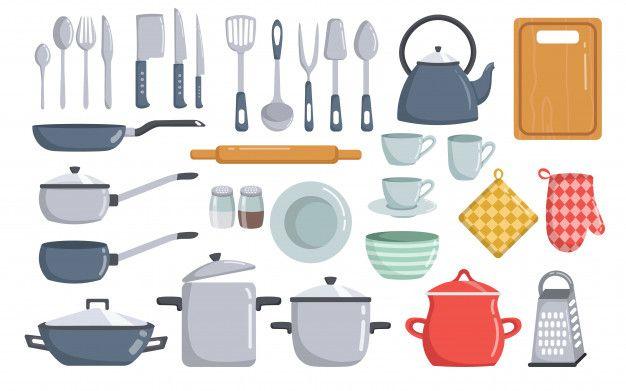 Big Set Of Kitchen Tools Vector Elements Cartoon Kitchen Tools