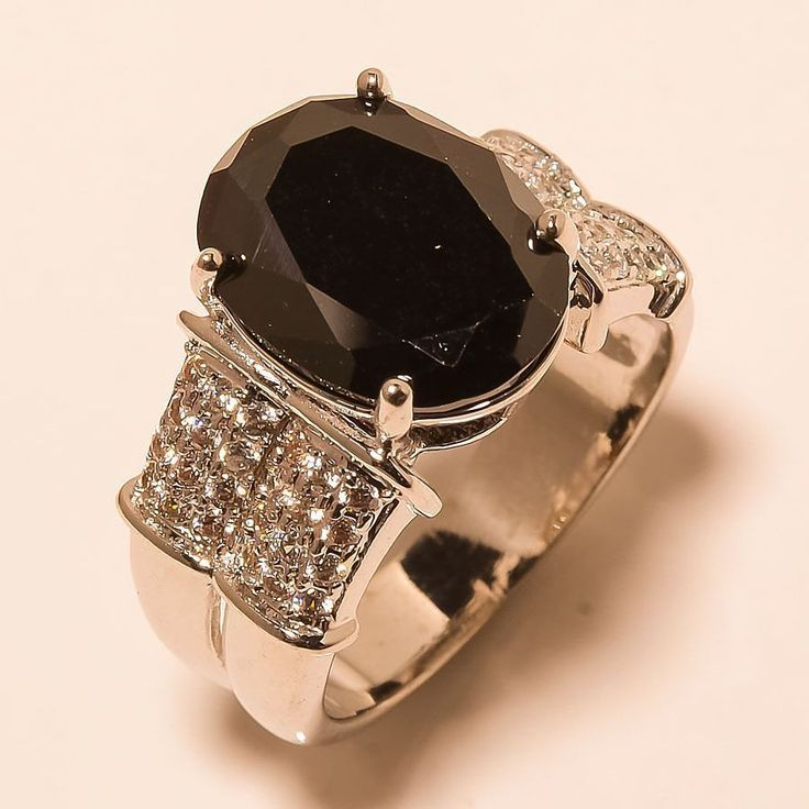 Black Onyx, White Topaz 925 Sterling Silver Jewelry Ring 7 #Handmade #Cocktail