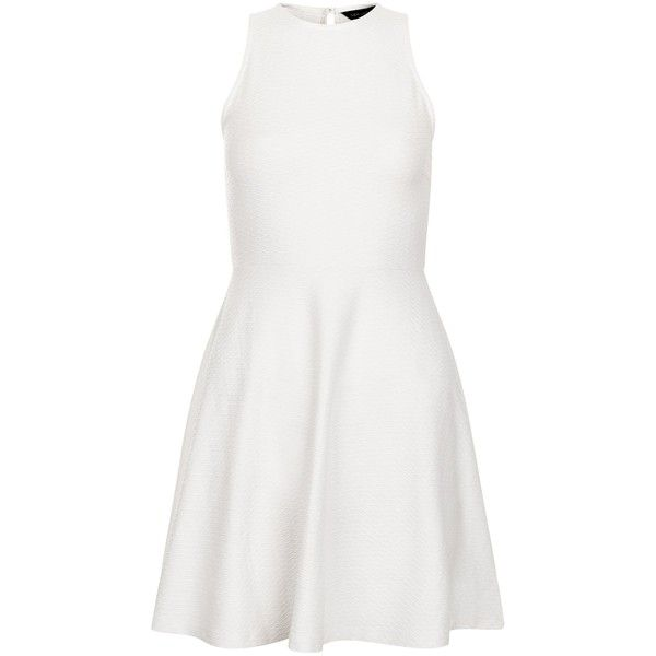 New Look Petite White High Neck Skater Dress ($11) ❤ liked on Polyvore featuring dresses, white, high neckline dress, petite white dresses, petite skater dress, petite dresses and skater dress