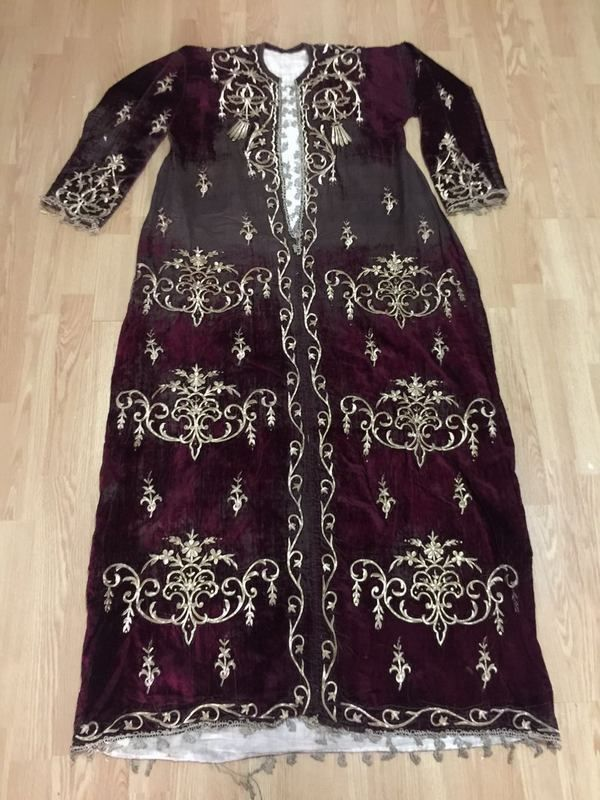 ottoman silk velvet bindallı long robe with gold metallic threads FOR SALE • $1,350.00 • See Photos! Money Back Guarantee. ottoman gold metallic embroidery bindallı robe very long: has silk flows but embroidery quality is great . please study photos carefully dimensions height:165cm arm length:53cm 332267016089