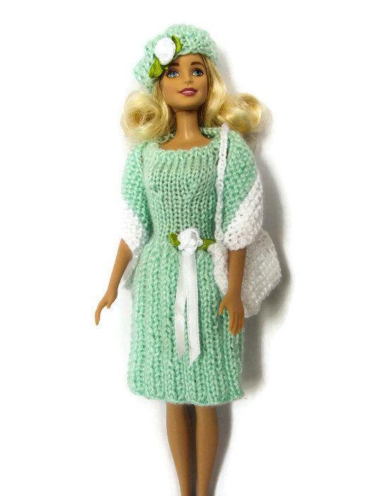 Barbie Clothes Knit Barbie Dress Hat Purse by QuiltyPleasuresCraft ☆