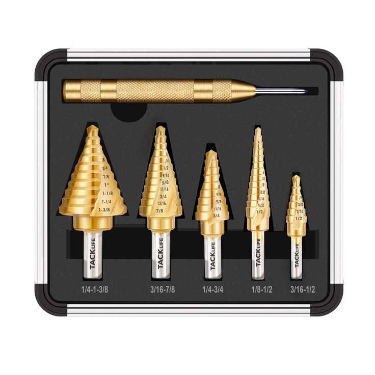 Tacklife PSD4 Titanium Spiral Grooved Step Drill Bit Set & Automatic Center Punch, High Speed Steel, Double Cutting Blades Design with Aluminum Case |5-Piece Set| Total 50 Sizes