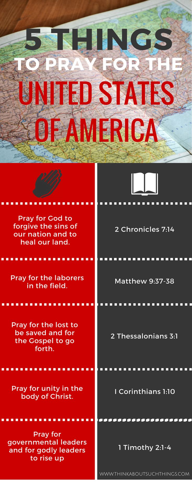 The body Christ needs to be praying for America! Learn what to pray and how you can pray for each state by using a prayer map. It's time for God to move on this nation again!