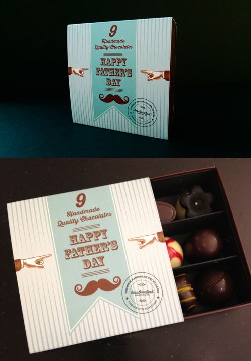 A chocolate box containing handmade pralines, truffles and filled chocolates hand made in my small chocolatefactory Stockholm, Sweden. Since I'm also a Graphic designer I made the box also...