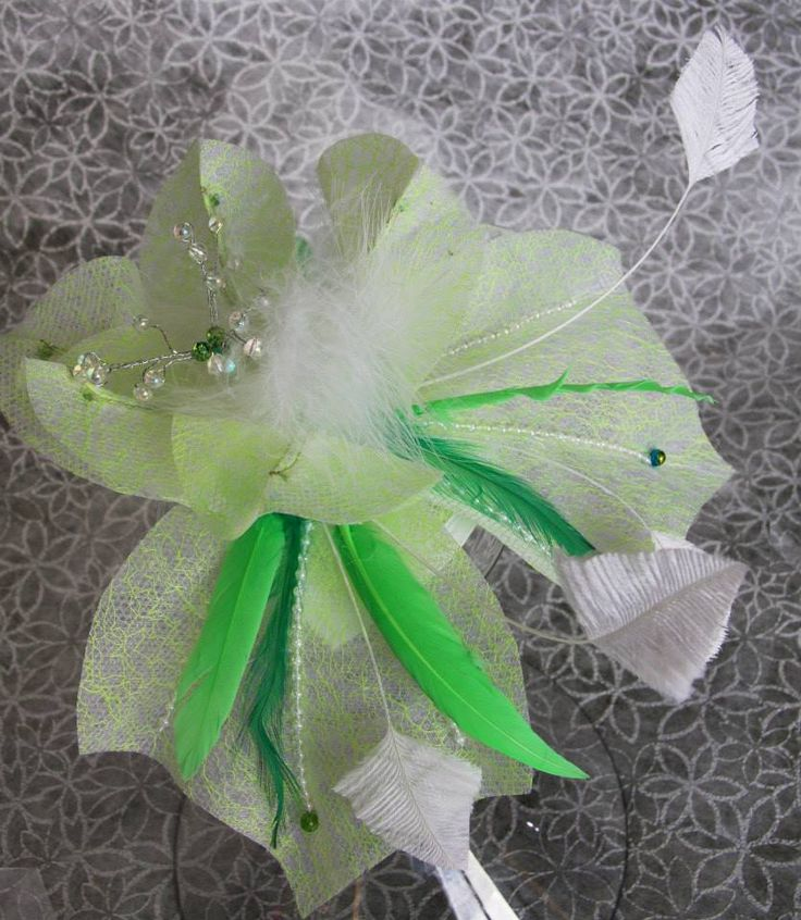 Mint green and feathers with  beading gives anyone a special event fascinator contact me if you would like one hand-made for you.