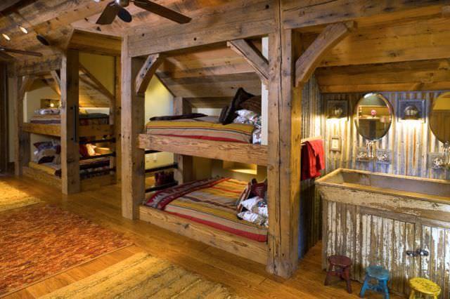 Dormitoare pentru copii din lemn rustic