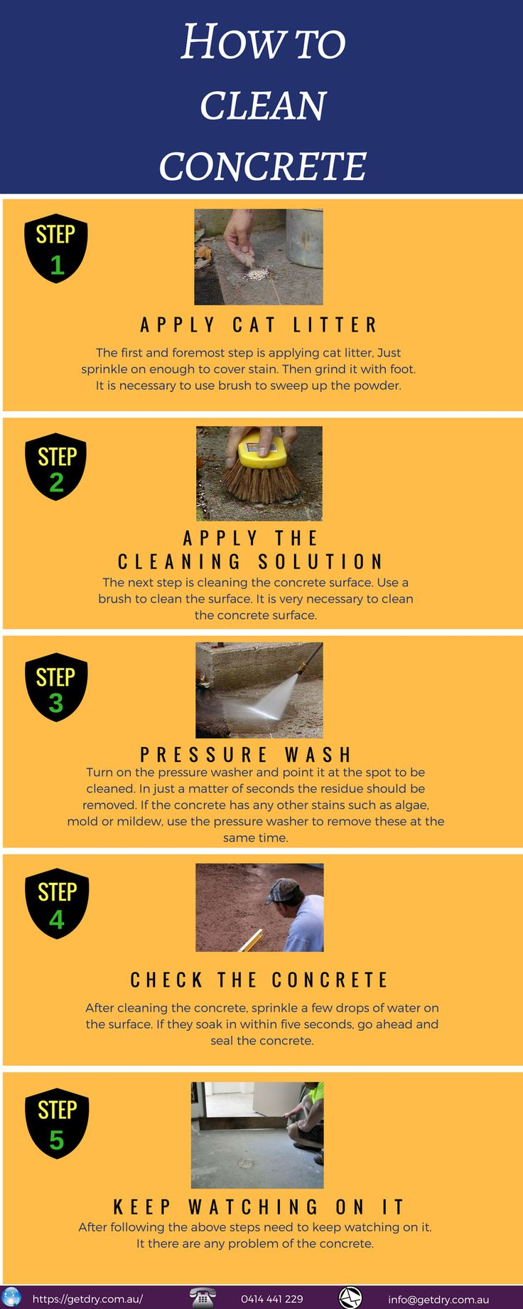 Here you can find some necessary steps to #clean #concrete.