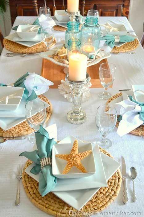 Mesa de jantar na praia