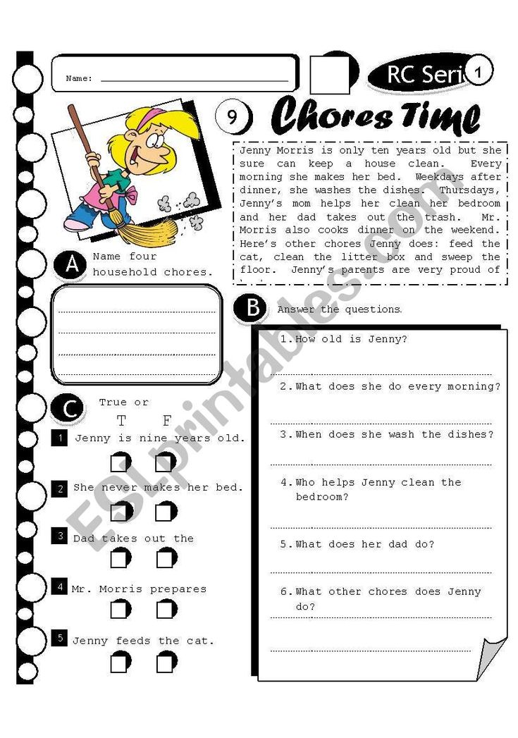 NEW ! RC SERIES 09 Chores time. Level 1 Reading