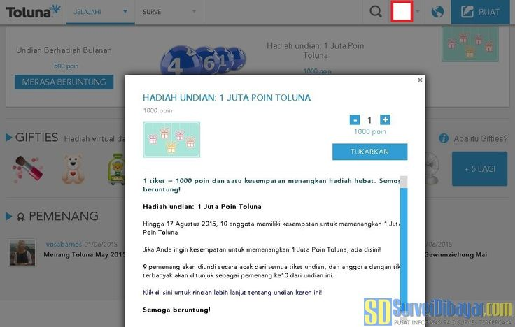 Hadiah Undian 1 Juta Poin Toluna 2015 | Survei Dibayar