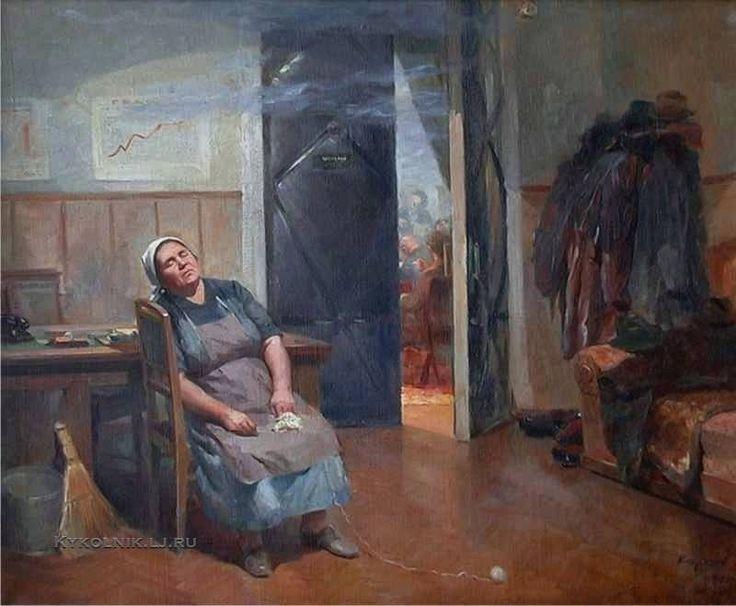 Катков Герман Петрович (1914–1996) «Затянувшееся заседание» 1955