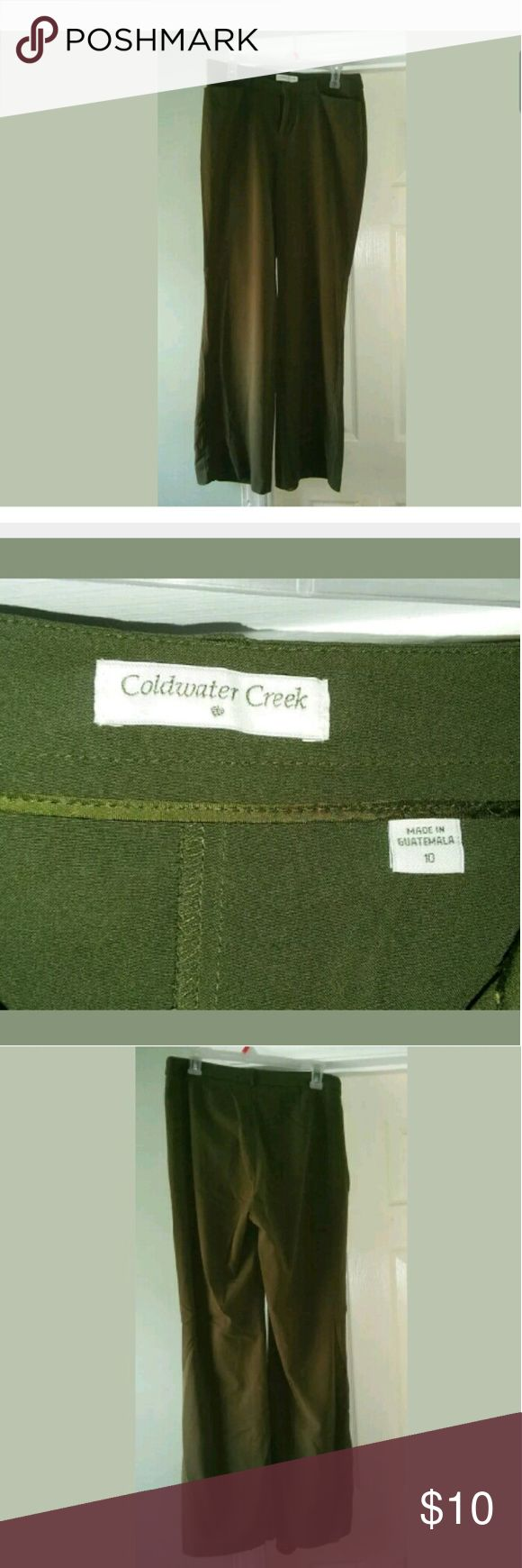 Coldwater Creek Dress Pants Size 10 COLDWATER CREEK Women Dress Pants Olive Green Flare Pants Size 10 Coldwater Creek Pants Trousers