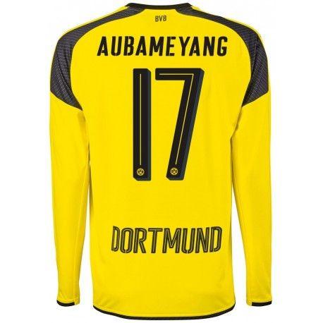Maillot Dortmund AUBAMEYANG Ligue Des Champions 2016/2017 Manches Longues  Officiel Extérieur. Flocages Personnalisés Disponibles.