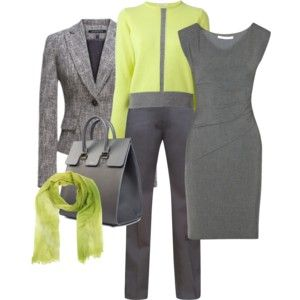 """""""Grey and Chartreuse work outfits"""" by lachiner-1 on Polyvore"""