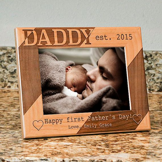 Personalized Dad Picture Frame-Happy First Fathers Day-Wood Engraved-Fathers Day Gift-First Father's Day-Color Choice