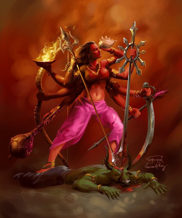 "Durga, meaning ""the invincible"" is the principal form of the Goddess, also known as Devi and Shakti in Hinduism. Durga the mahashakti, the form and formless, is the root cause of creation, preservation and annihilation. Here she is seen after the defeat of the buffalo demon Mahisasura"
