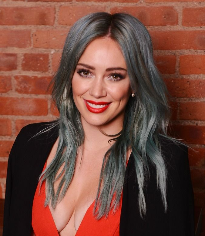 Is it green? Is it blue? Is it a blue-ish tinged grey? We're not sure, but WE LOVE IT.  Image via Getty.Hilary Duff, New York City, 2015