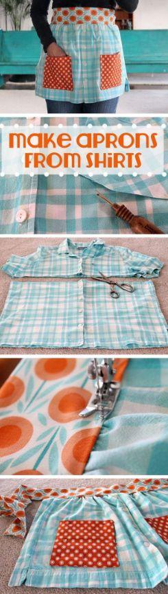 Make an old shirt into a cute apron.