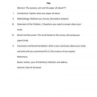 FORMAT PAPER IN RESEARCH PAPER In PHILOSOPHY For FINAL REQUIREMENT Title  Abstract: The Purpose,