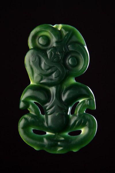 Finch & Co - A Large New Zealand Maori Finely Carved 'Pounamu' Greenstone Breast Pendant 'Hei-Tiki'