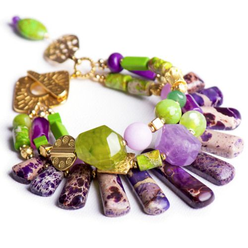 N°151 The Reassurance of Lime & Purple Jasper Statement Bracelet - Luka - Contemporary Handcrafted Statement Jewellery Australia