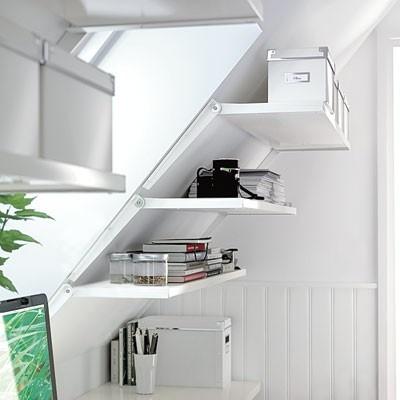 Great attic storage shelves.