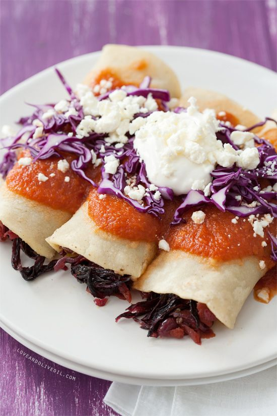 Hibiscus Flower Enchiladas — Have you ever used dried flowers in place of meat? (Click on image for recipe) via @Lindsay Landis (Love & Olive Oil)