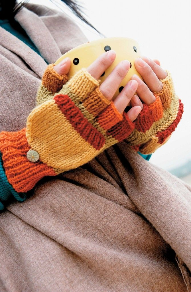 These fingerless gloves by @sccpinner are great gifts for someone who loves to text.   Would be a great project for Wool-Ease.