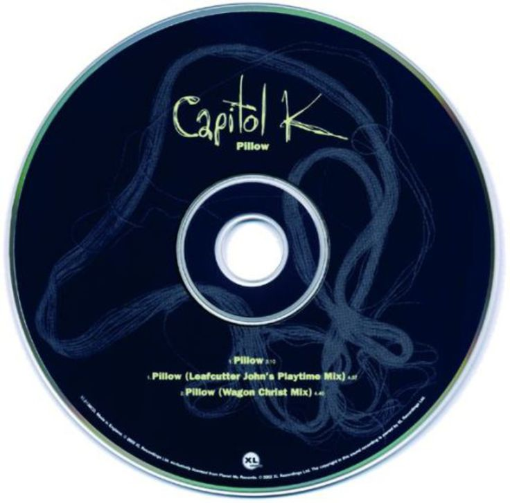 """Read more: https://www.luerzersarchive.com/en/magazine/print-detail/xl-recordings-30992.html XL Recordings Capitol K: """"Pillow"""", CD cover, inside of CD case and CD Tags: XL Recordings,The Beggars Group / In-House, London,Philip Lee,Rachael Ruth Matthews"""