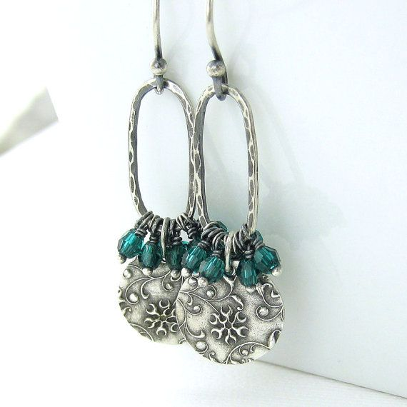 Emerald Earrings Sterling Silver Flower Jewelry Swarovski Crystal Earrings Handmade Jewelry Beth No. 40
