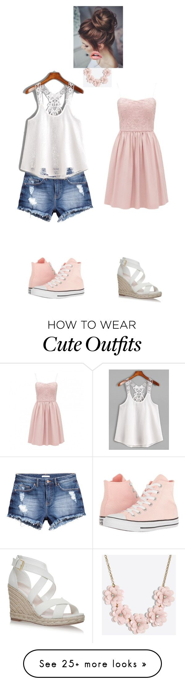 """""""Casual or Cute Peach Outfits"""" by alissanc2002 on Polyvore featuring J.Crew, Converse, H&M, cute, Pink, pretty, peach and casualoutfit"""
