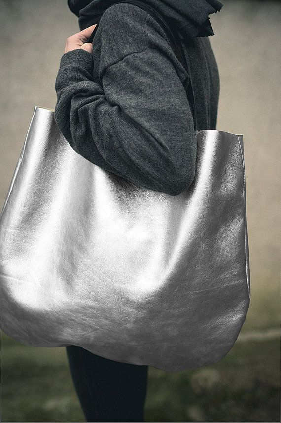 Silver Oversized Leather Hobo Bag Tote bag in silver by patkas, $200.00