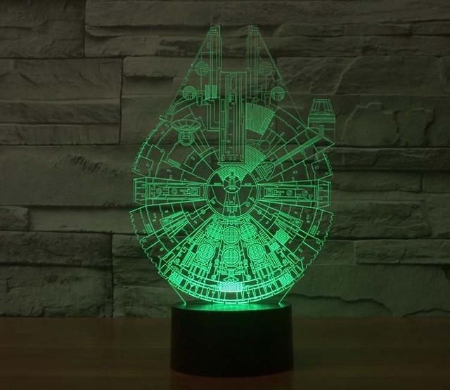 Hot ! NEW 7color changing 3D Bulbing Light BB8 BB-8 Star Wars Yoda visual illusion LED lamp action figure toy Christmas gift