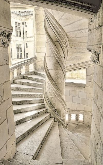 Stone staircase in Chateau de Chambord, France
