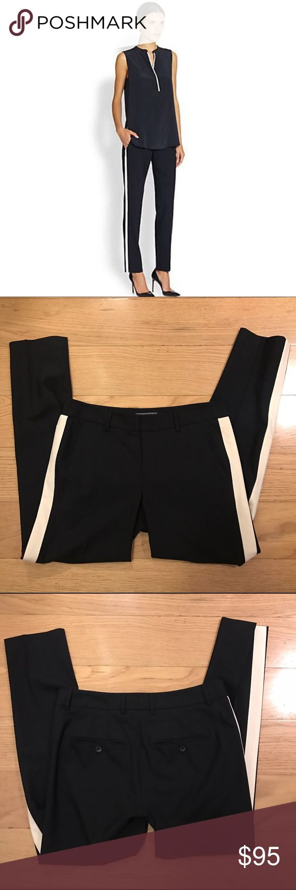VINCE Tuxedo Stripe Pant Vince Tuxedo Stripe Pant. -Size 4. -Black with beige stripe. -Like new condition.  NO Trades. Please make all offers through offer button. Vince Pants