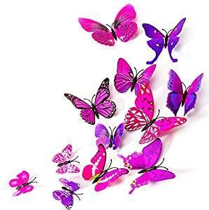 Vintage Schmetterlinge D Effekt Schmetterling Magnet mit Klebepunkten Wandtattoo Lila Pink Wand Aufkleber Dekoration Einrichtung Wohnzimmer