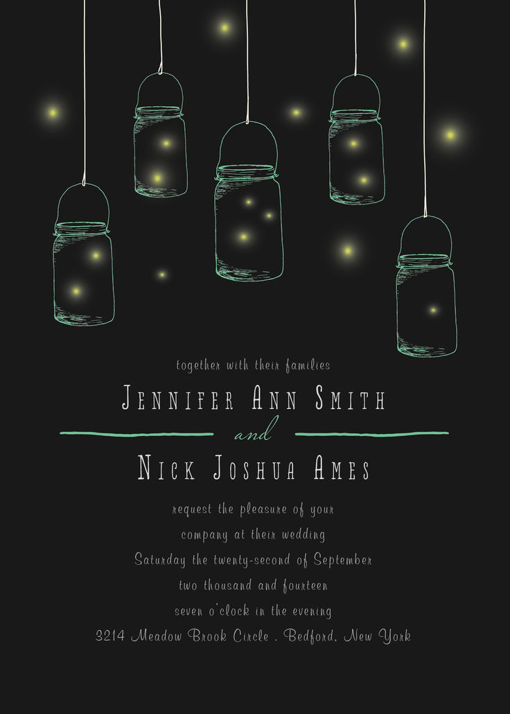 The Mason Jars and Fireflies is the perfect wedding invitation for any outdoor rustic  wedding theme.