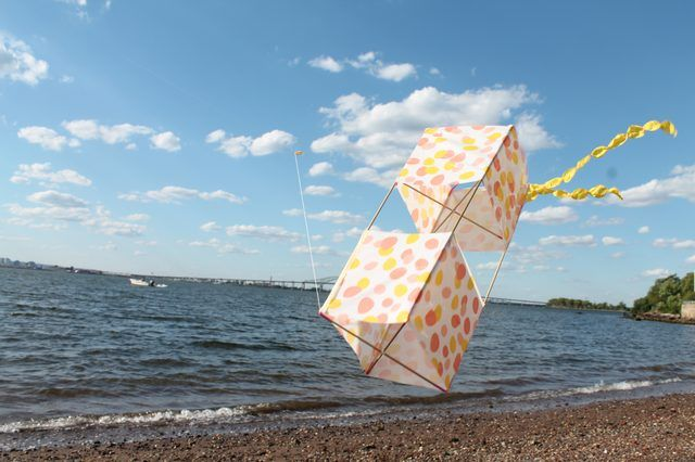 Here are a different set of instructions for a beautiful box kite (uses a vinyl tablecloth)