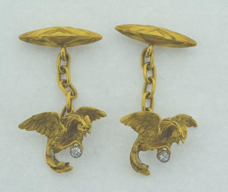 Superb Pair of Antique 18k Roosters & Diamonds Cufflinks