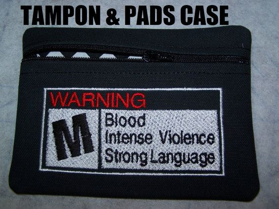Warning! Tampon & Maxi Pad Case Zippered Fabric Purse Pouch / Tampon Keeper