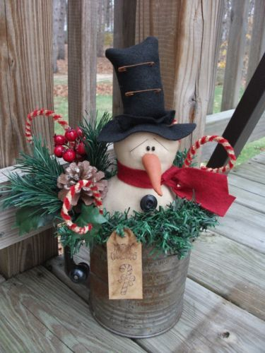 Details About Folk Primitive Christmas Winter Snowman Doll