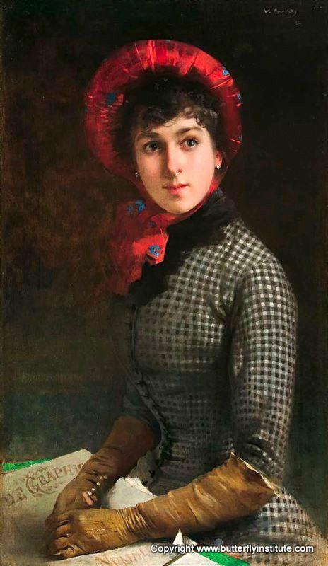"""Vittorio Matteo Corcos (Italian, 1859-1933) """"Inglesina con cappello rosso e guanti"""" 1882"""