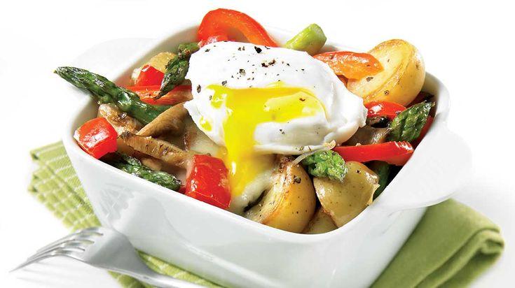 Cassolettes de légumes et œufs pochés