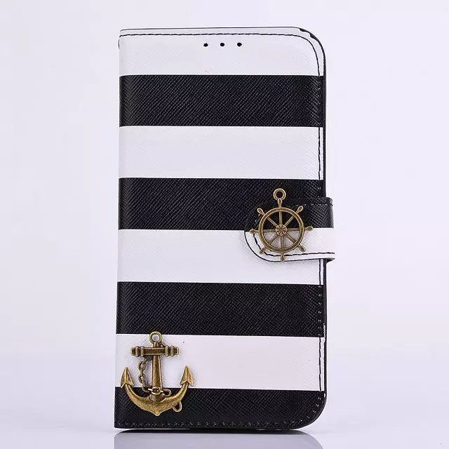 Retro Anchor Phone Case with Kickstand For Samsung Galaxy S6 / S6 Edge Flip Cover