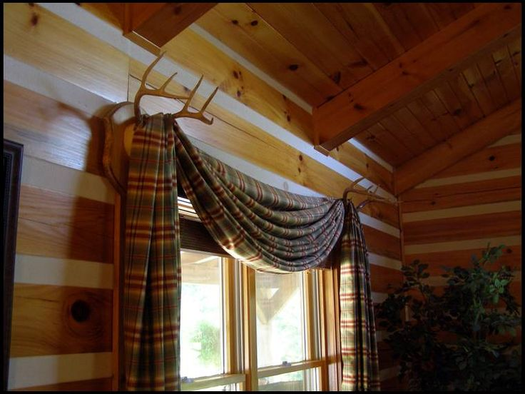 deer antler curtain rod holders - Google Search