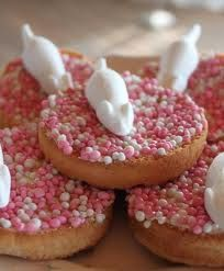 """Beschuit met muisjes!"" Eaten when a baby is born. Pink/White for a girl, blue/White for a boy. #tradition"